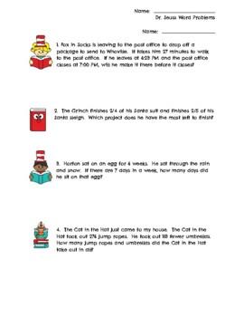 Dr. Seuss Third Grade Math Problems