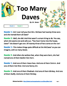 Dr. Seuss Too Many Daves Readers Theater