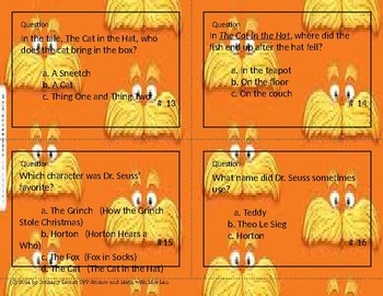 Dr. Seuss Trivia Task Cards