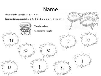Dr. Seuss Vowel and Consonants Identification