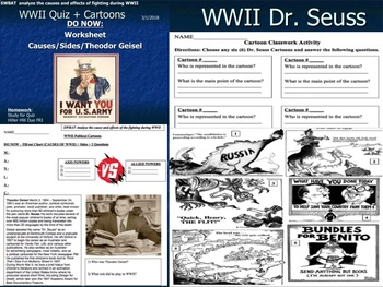 Dr. Seuss WWII Cartoon Analysis Activity (FULL LESSON BUNDLE)