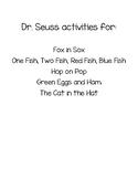 Dr Seuss Week Activities