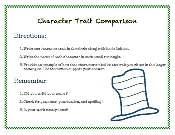 Dr. Seuss Week Inspired Character Trait Comparisons