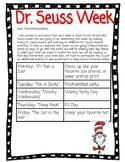 Dr. Seuss Week Letter