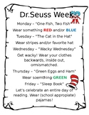 Dr. Seuss Week Schedule