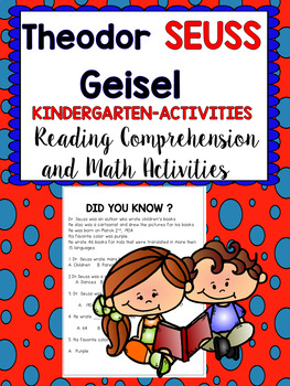 Dr. Seuss  Author Study-Reading Comprehension and Math Activities - Kindergarten