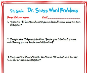5th Grade Dr. Seuss Word Problems