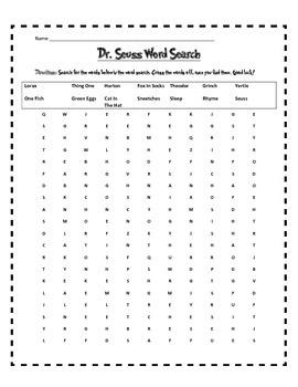 Dr. Seuss Word Searches