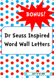 Dr Seuss Inspired Word Wall Letters BONUS Two Sets of Numbers