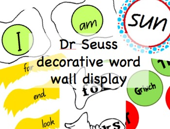 Dr Seuss decorative word wall display