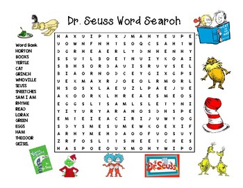picture relating to Dr. Seuss Word Search Printable identified as Dr. Seuss Wordsearch