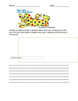 Dr. Seuss Writing Activity