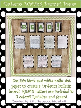 Dr.Seuss Writing Prompt Paper READ! Bulletin Board