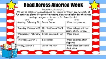 Dr Seuss and Read Across America Activities Letter