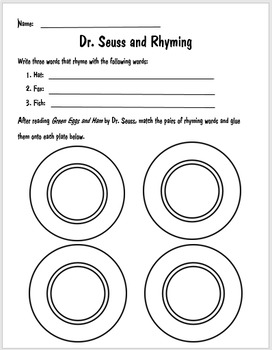 Dr. Seuss and Rhyming Worksheet