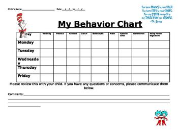 Dr. Seuss daily behavior form