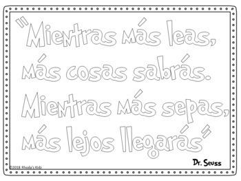 Dr. Seuss en Español -Frases para colorear