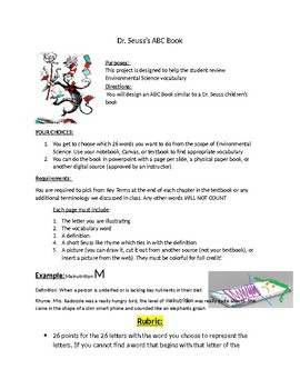Dr. Seuss inspired ABC Vocabulary Review Project