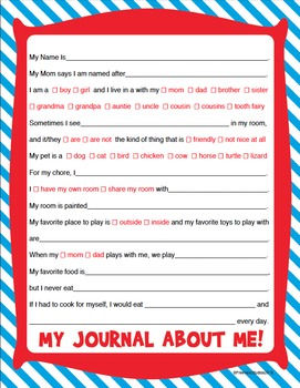 Dr. Seuss Inspired Journal - About Me!