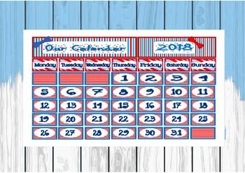 Seuss  like calendar back to school setup