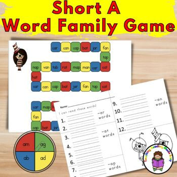Dr. Seuss inspired Short A Word Family Game