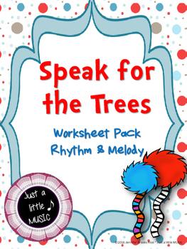 Speak for the Trees--Worksheet pack for practicing rhythm