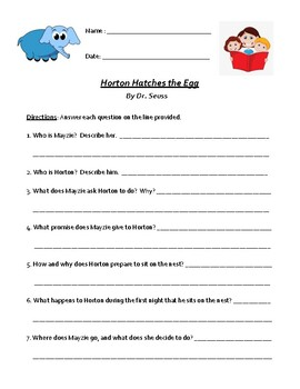 Dr. Seuss's Horton Hatches the Egg: Worksheet or Test with Detailed Answer Key