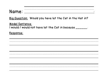 Dr. Seuss's 'The Cat In The Hat' Kinder 5-Day Opinion Writing Plan