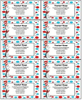 Dr Seuss teacher contact cards Editable