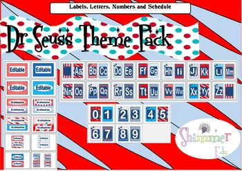 Seuss like: Labels, Alphabet, numbers and schedule back to school setup