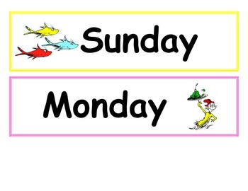 Dr. Seuss theme days of the week and months of the year
