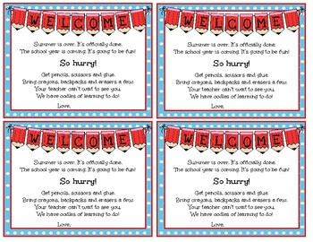 Dr. Seuss themed beginning of year post cards