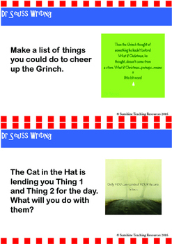 Dr Seuss writing prompt cards