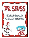 Dr. Seuss editable calendar freebie