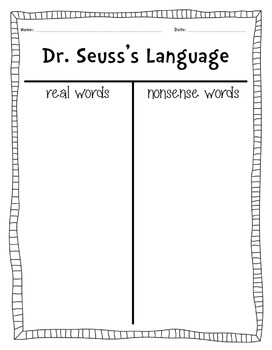Seuss's Real Vs Nonsense Words Graphic Organizer