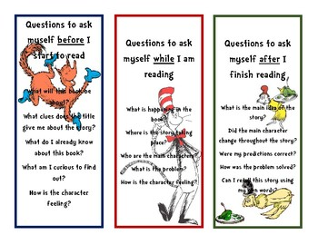 Dr. Suess Bookmarks with Questions