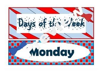 Seuss like DAYS OF THE WEEK DISPLAY - back to school