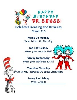 Dr Suess Dress Up Week Read Across America