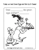 Dr. Suess Green Eggs and Ham Coloring