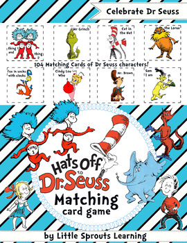 Dr Seuss Matching Cards (with and without text)