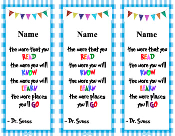 "Dr. Suess ""The Places You'll Go"" bookmark"