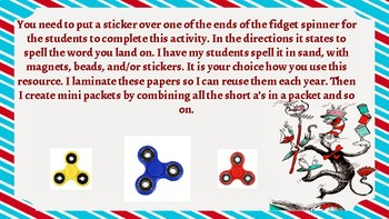Short Vowel Word Work Fidget Spinner Game Boards