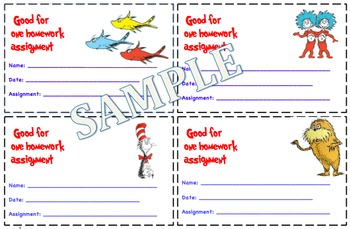 Dr. Suess Themed Homework Passes