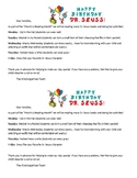 Dr. Suess Week Letter to Parents