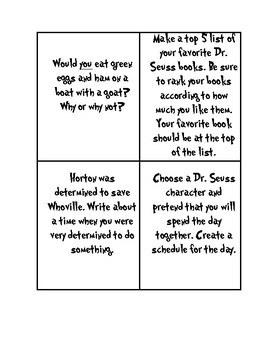 Dr. Suess Writing Prompts