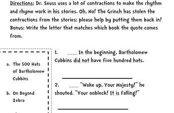 Dr.Seuss Contractions