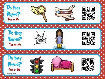 Dr.Seuss color Rhyming QR code game
