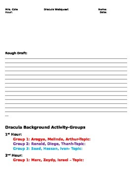 Dracula Background Mini Research activity