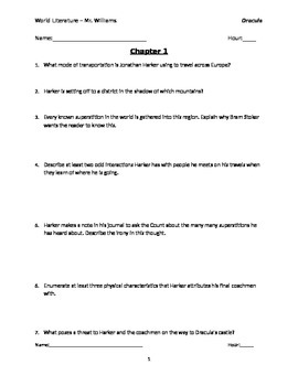 Dracula Chapter 1 Reading Qs with Answer Key