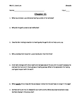 Dracula Chapters 11-15 Reading Questions with Answer Key